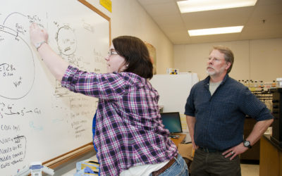 Aubree Hancoop works with MSU-B associate professor Tom Lewis on biochemical research. (courtesy photo)