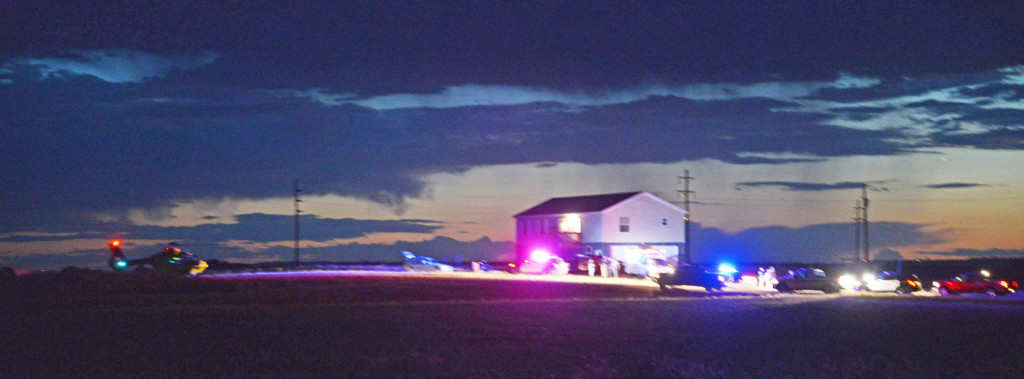Yellowstone County sheriff's deputies, Montana Highway Patrol troopers and emergency medical personnel responded to the home of Wesley Brian Sindelar on Thunderstick Road in Ballantine Monday evening after his father, James Sindelar, called 911 to report he had shot his son with a handgun. (Jonathan McNiven photo)
