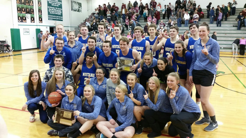 Shepherd Basketball District Champions- Shepherd Boys and Girls Basketball Teams. Click on image to enlarge. (Courtesy photo by Kim McCrae)