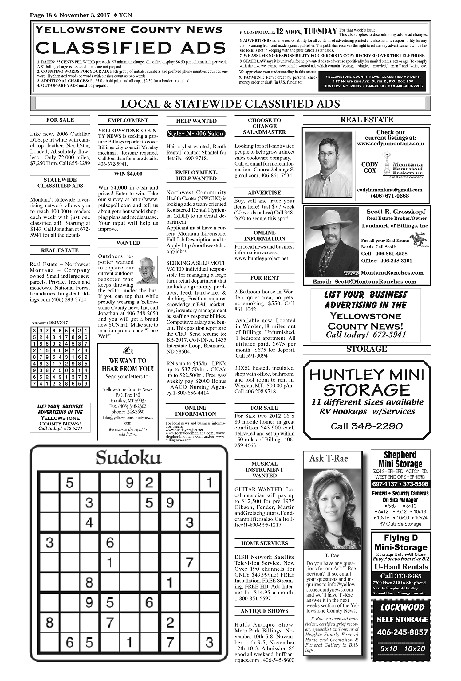 Classifieds-18YCN11032017 | Yellowstone County News