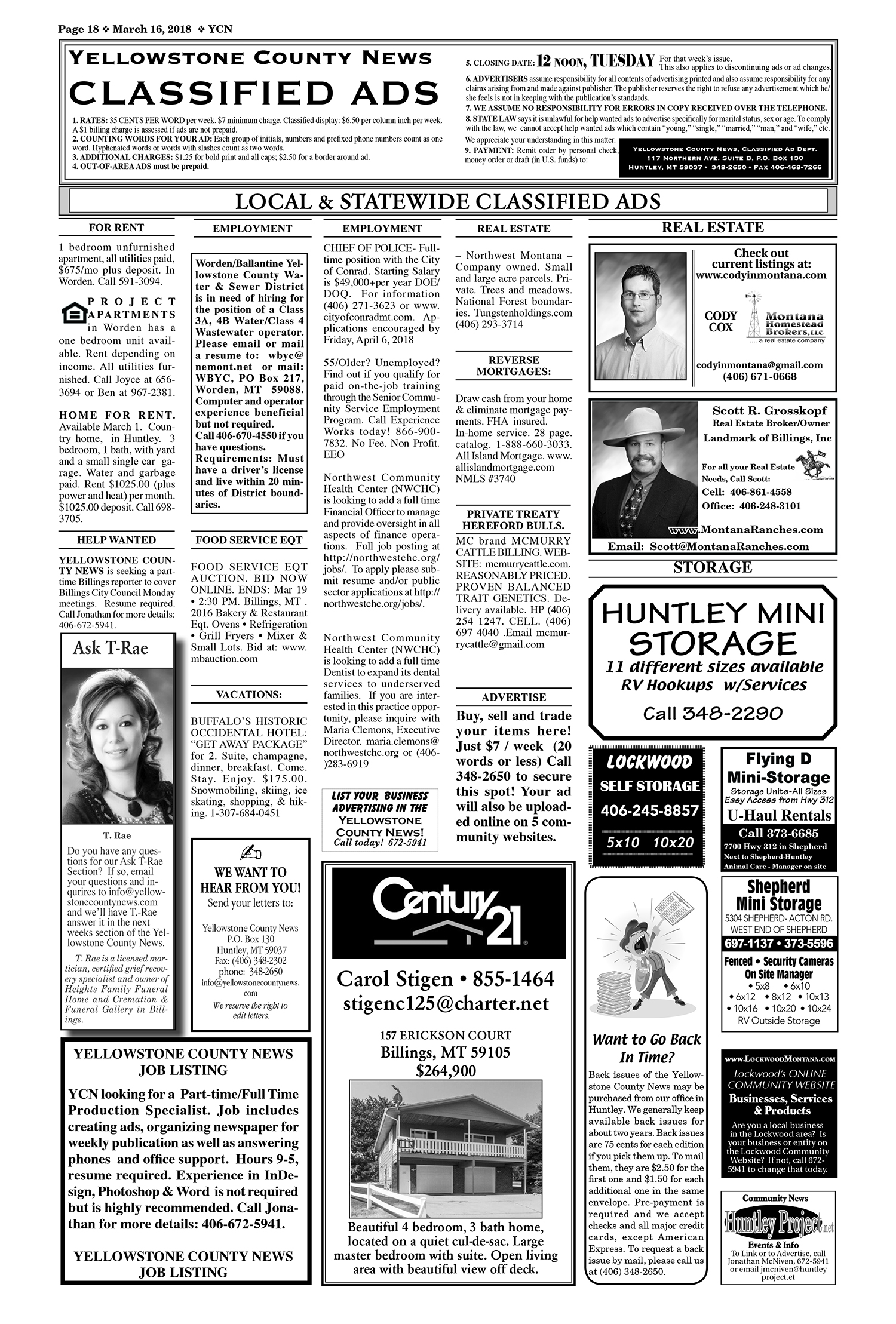 classifieds-18YCN03162018 | Yellowstone County News